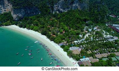 Aerial view of popular Thai Railey Beach, Thailand