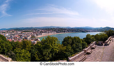 Aerial view of popular touristic city San Sebastian, Spain