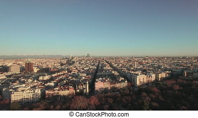Aerial view of populous Madrid in winter morning, Spain -...