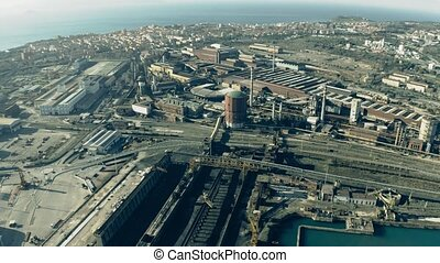 Aerial view of port and city of Piombino, Italy - Aerial...