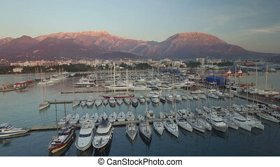 Aerial view of port in Bar city at sunset - Aerial view of...