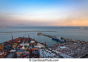Aerial view of port in Salerno