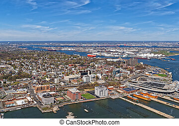 Aerial view of Port Newark in Bayonne, New Jersey USA. The...