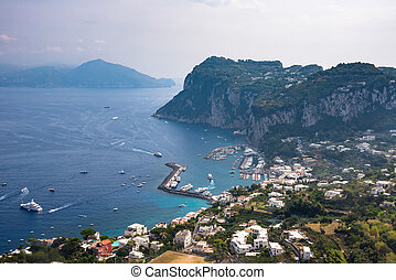Aerial view of port on Capri Island