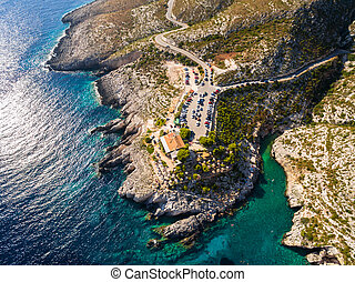 Aerial view of Porto limnionas beach in Zakynthos (Zante)...