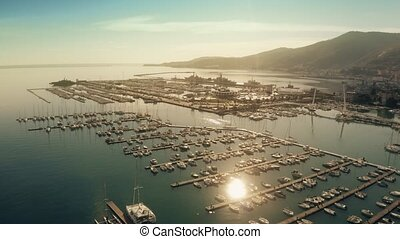 Aerial view of Porto Mirabello harbour in La Spezia and...