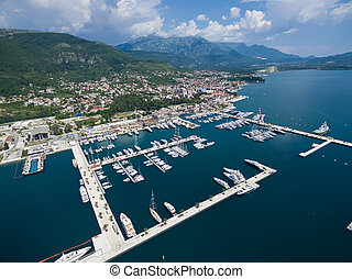 Aerial view of Porto Montenegro. Tivat city. - Aerial view...