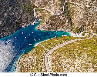 Aerial view of Porto Vromi beach in Zakynthos (Zante)...