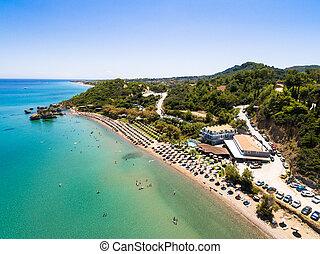 Aerial view of Porto Zorro Azzurro beach in Zakynthos...