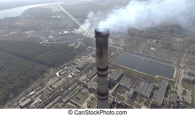 aerial view of power plant.
