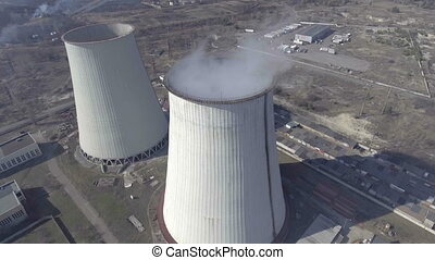 aerial view of power plant. - aerial view of power plant