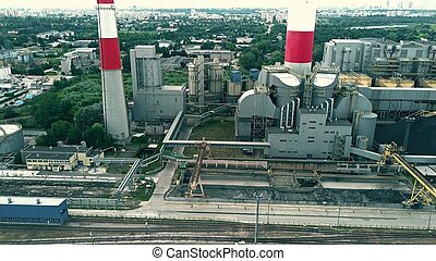Aerial view of power station