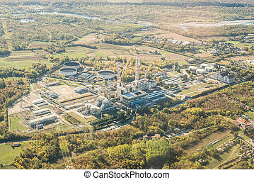 Aerial View of Power Station in Italy. Factory in Industry Zone.