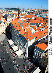 Aerial view of Prague center in Czech Republic