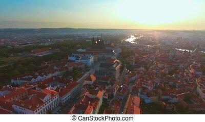 Aerial view of Prague city and Prague castle and River...