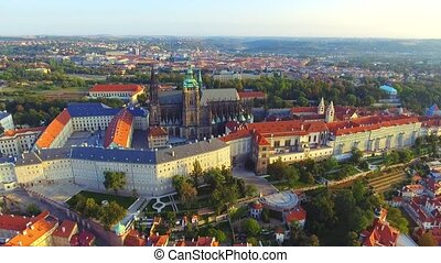 Aerial view of Prague city and Prague castle, flight over the city, top view