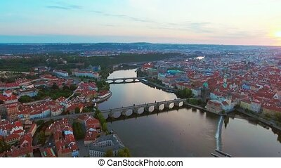Aerial view of Prague city and River Vitava at morning. -...