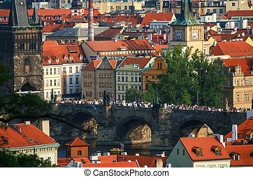 Aerial view of Prague city with Charles bridge