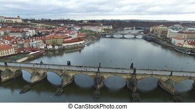 Aerial view of Prague, Czech Republic.