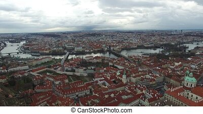 Aerial view of Prague, Czech Republic.