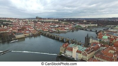 Aerial view of Prague, Czech Republic. - Aerial view of...