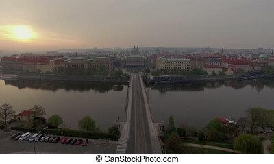Aerial view of Prague with Manes Bridge