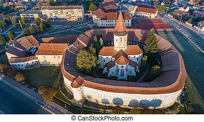 Aerial view of Prejmer fortified Church. Brasov, Romania