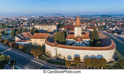 Aerial view of Prejmer fortified Church. Brasov, Romania -...