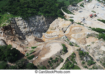 Aerial view of quarry development