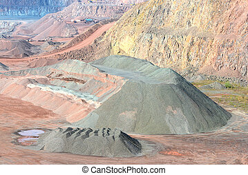 Aerial view of quarry. open pit mine of Porphyry rock.