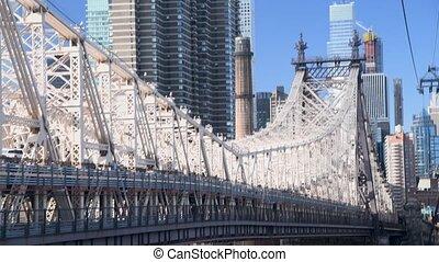 Aerial view of Queensboro Bridge and Manhattan skyline, New York City.