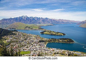 Aerial view of Queenstown and The Remarkables in South Island, New Zealand