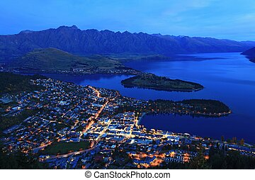 aerial view of Queenstown at dusk