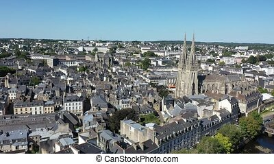 Aerial view of Quimper town and gothic Cathedral of Saint ...
