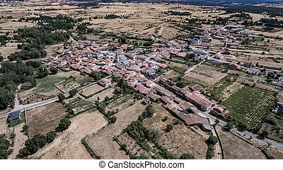 Aerial view of Rabanales village in Zamora