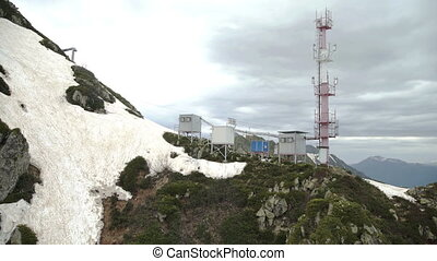 Aerial view of Radio communication station in the mountains