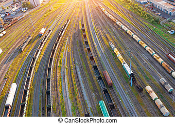 Aerial view of rail sorting freight station with various wagons, with many rail tracks railroad. Heavy industry landscape.