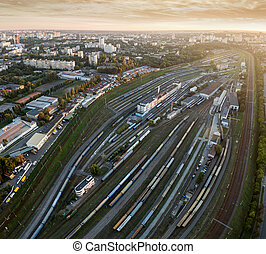 Aerial view of railroad station at sunset