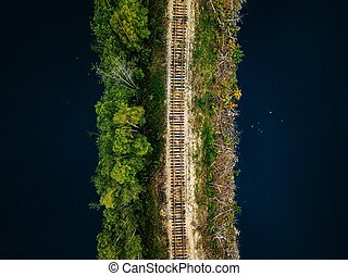 Aerial view of railroad tracks with green forest and blue lake in Finland