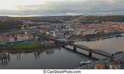 Aerial view of Railway Bridge across Vltava River or Vysehradsky Most in Prague, Czech Republic