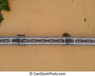 Aerial view of railway bridge over the river