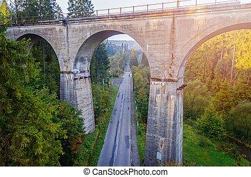 Aerial view of railway viaduct