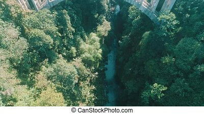Aerial view of rainforest canyon and bridge - Aerial drone...