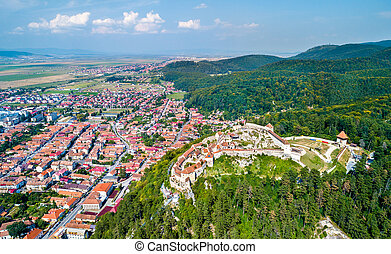 Aerial view of Rasnov Fortress in Romania