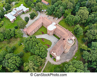 Aerial view of Raudone castle (Bayersburg II Castle old teutonic castle) in Raudone town, Lithuania