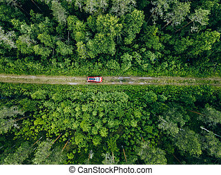 Aerial view of red car with a roof rack on a forest country road in Finland