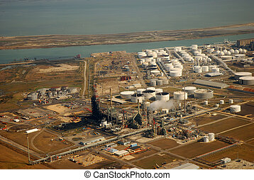 Aerial view of Refinery in Corpus Christi, Texas
