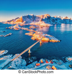 Aerial view of Reine and Hamnoy at sunset in winter