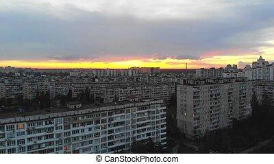 Aerial view of residental tower buildings in eastern europe...
