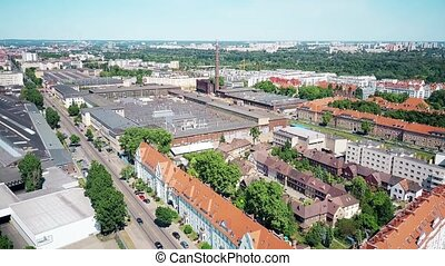 Aerial view of residential and industrial areas in Poznan, Poland